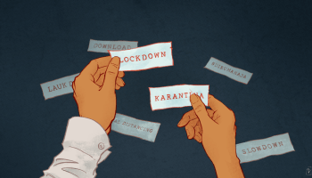 Header image, showing one hand holding the word 'lockdown' and another holding 'karantina'