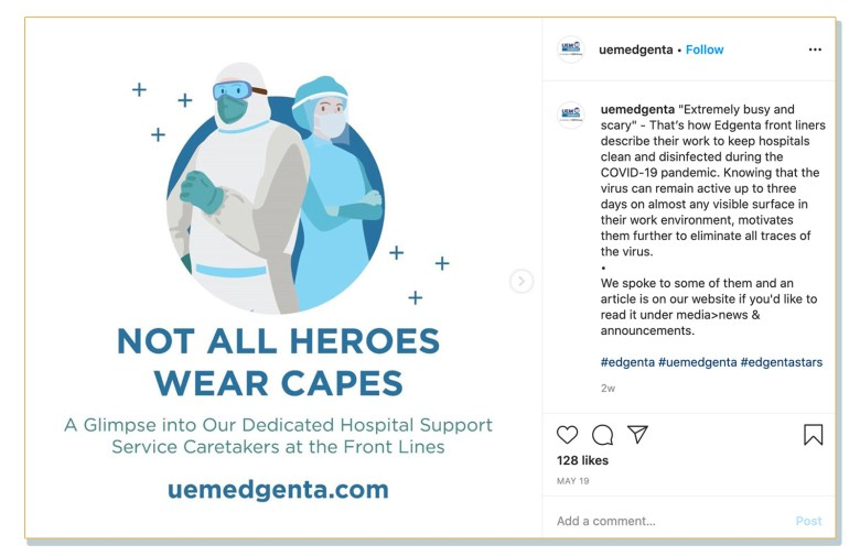 A post on UEMS' official Instagram page, where the company advertises an article on their website interviewing hospital service workers in their employ.