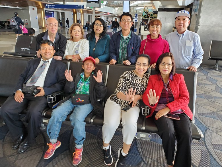 CNRP supporter Jeng Sheng Quach, top left, with other CNRP supporters at the Los Angeles International Airport before leaving for Thailand in November 2019.