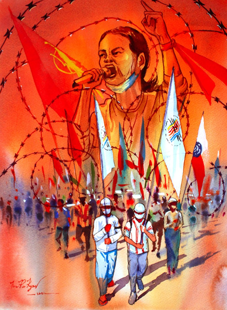 A painting of protestors marching with flags on the street. Coils of barbed wire are overlaid on them, and at the top a speaker with a microphone rallies the crowd.