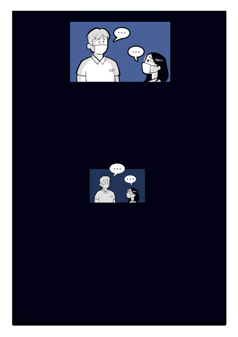 A comic page of 2 small panels in black and various shades of blue and grey, set in a dark blue-black background. Stephani and her father look at each other, lost for words. The panel repeats, but smaller. There is nothing else on the page.