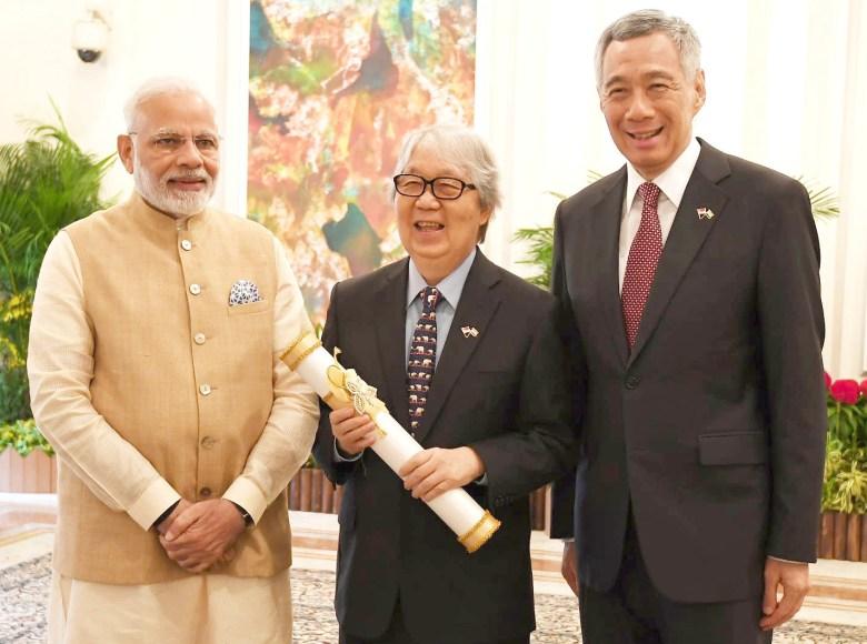 Indian Prime Minister Narendra Modi, Singaporean diplomat Tommy Koh and Singaporean Prime Minister Lee Hsien Loong in 2018.
