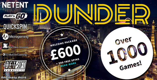 Dunder Casino | Enjoy 20 Free Spins| No New Deposit | 180 Free Spins