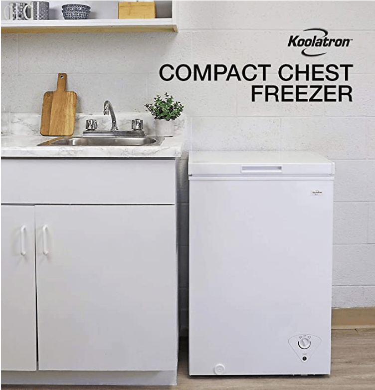 Koolatron Compact Chest Freezer with flip-up lid and 3.5 Cubic Feet Capacity - Mini Outdoor Chest Freezer ideal for Apartment, Condo, Office, RV, Cabin, Small Kitchen
