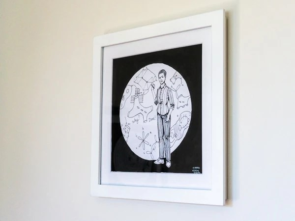Maryam Mirzakhani Original Artwork - White Frame