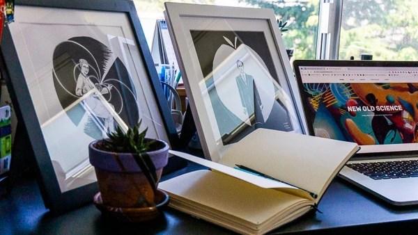 Original Artworks with Frame on desk