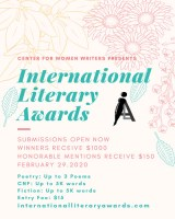 2020 International Literary Awards flier