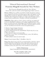 2020 Francine Ringold Awards for New Writers poster