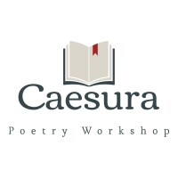 Caesura Poetry Workshop logo open book with red bookmark