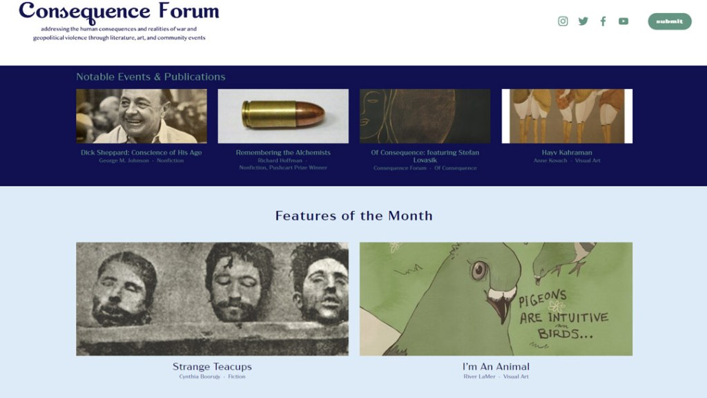Screenshot of the June 2021 featured events, articles, and pieces of Consequence Forum