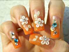 orange-floral-decoration-for-summer-nail-colors-2