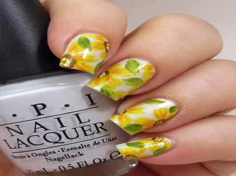 summer-sunflowers-pretty-summer-nail-colors-2