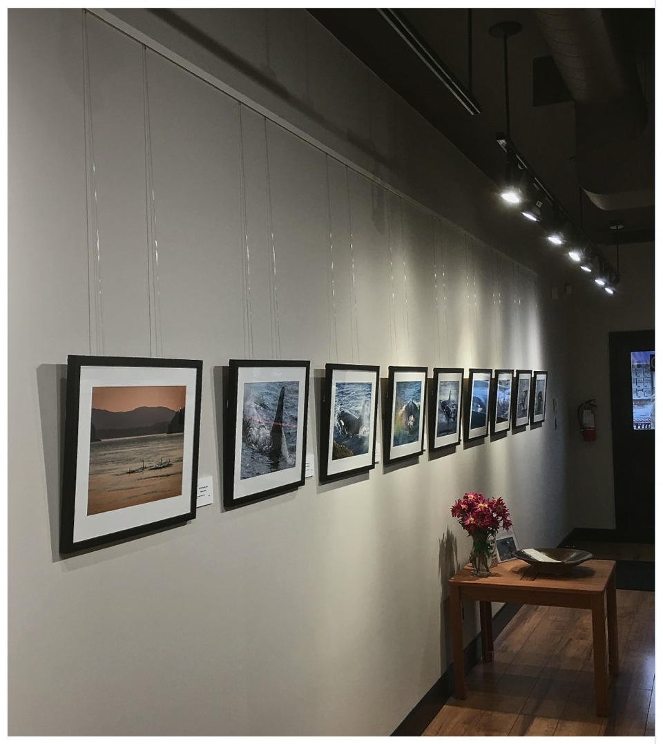 Inside view of art gallery with several framed prints hanging on wall and a small table in front of wall.