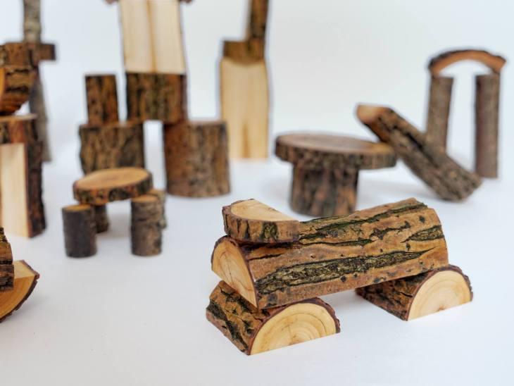 dzikie dzieci-drewniane klocki