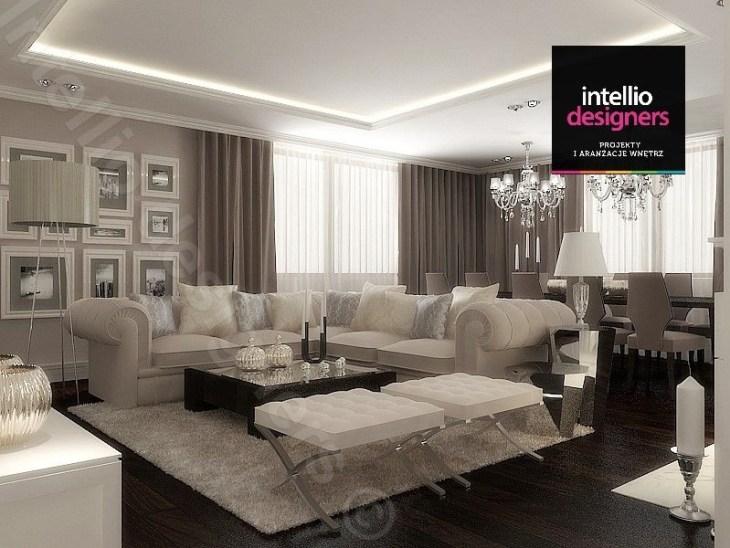 Fot. 3. Projekt salonu autorstwa Intellio designers z elementami sztukaterii na suficie