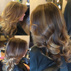 NeBrunette, Hair Salon, Hair Color, Hair cut, Hightlights, Balayage, Newport Beach, Orange County, Hair Stylist, Costa Mesa, Irvine, Hair Style, Blow drywport Beach Hair Stylist Deep Chocolate brown base with ribbon caramel Balayage Highlights 3 by Emily Cain