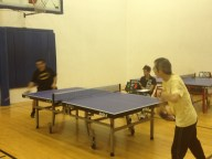 Playing ping pong in Newport Beach