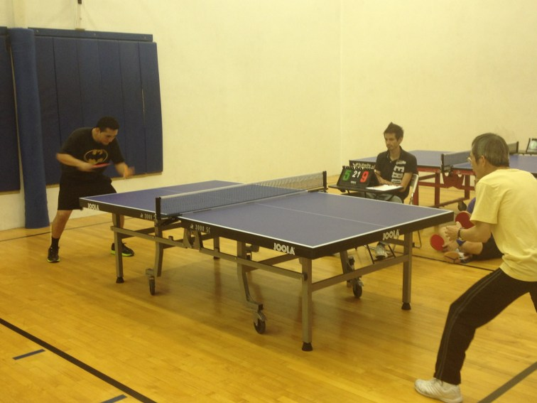 Tight match on Newport Beach table tennis