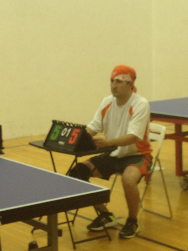 Ivan Dueñas as table tennis umpire in Newport Beach Table Tennis Club