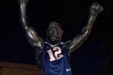Rocky Statue Tom Brady Jersey