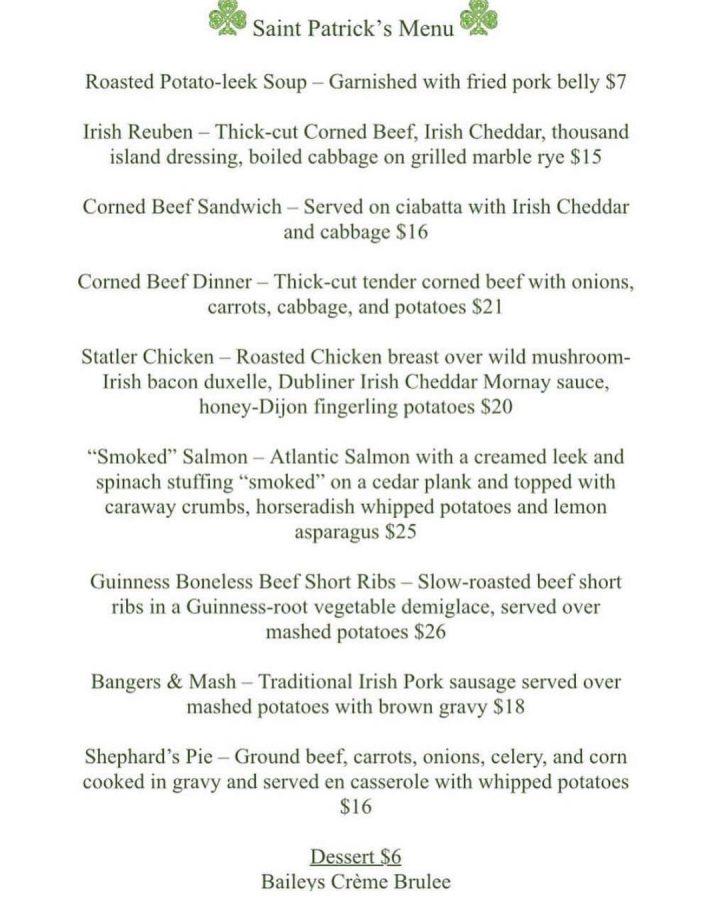 La Forge St. Patrick's menu