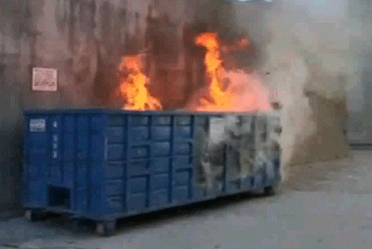 Blue Cross Dumpster Fire