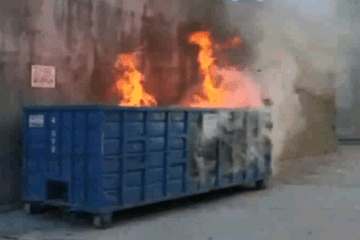Blue Cross Dumpster Fire