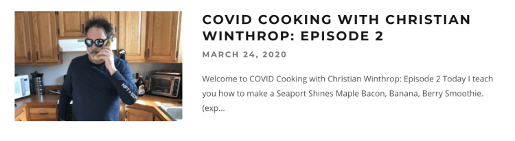 COVOID Cooking Christian Winthrop