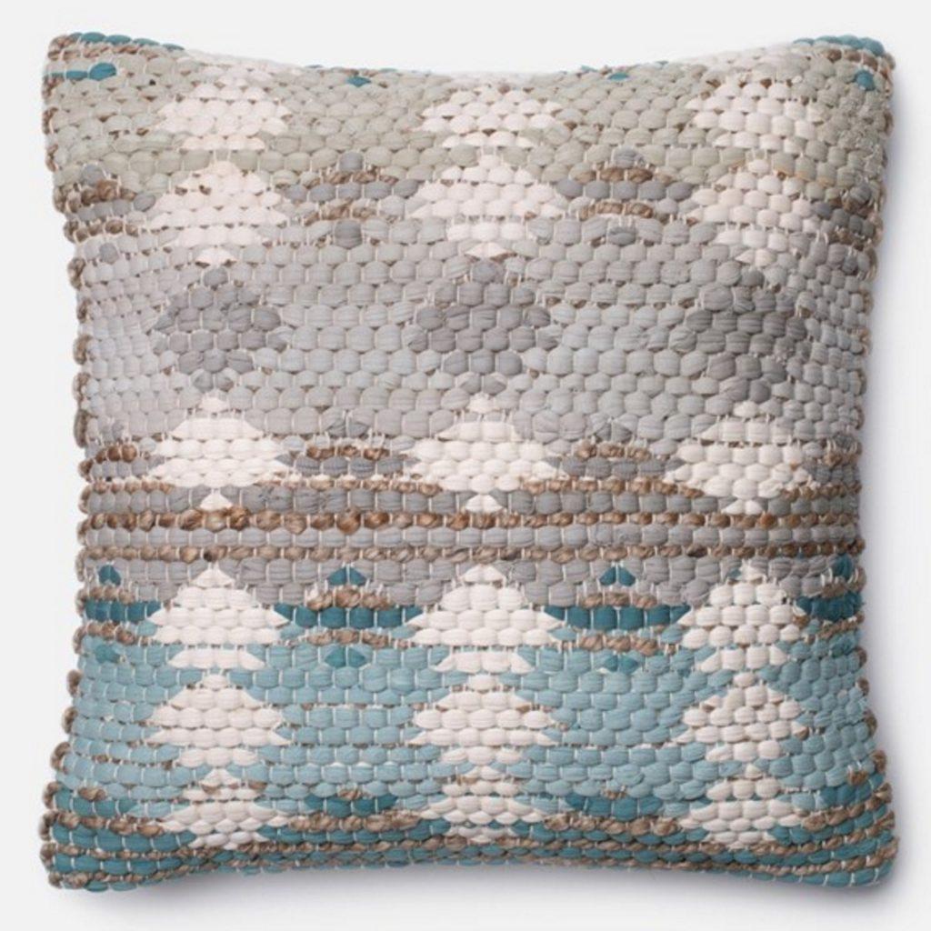 Blue Grey Beige Pillow Newport Coast Interior Design