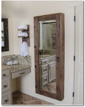 Custom mirror cabinet in bathroom