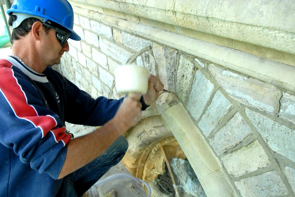 Work on the exterior of the Minster
