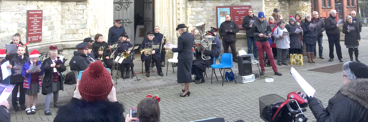 Salvation Army leading carols in the Square