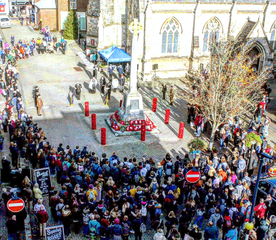 Remembrance Day in St Thomas Square outside the Minster