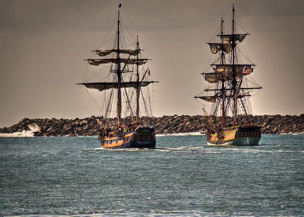 The Lady Washington and the Hawaiian Chieftain in Yaquina Bay, Newport, OR