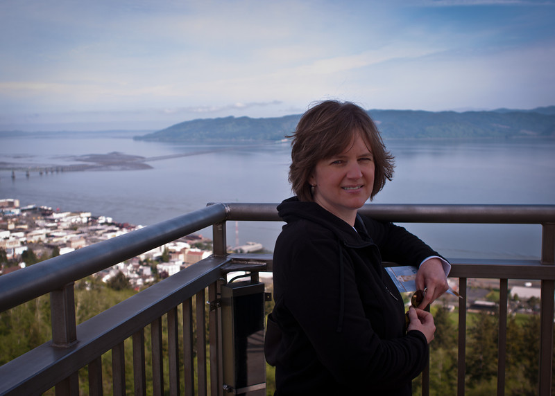 Pam atop the Astoria Column