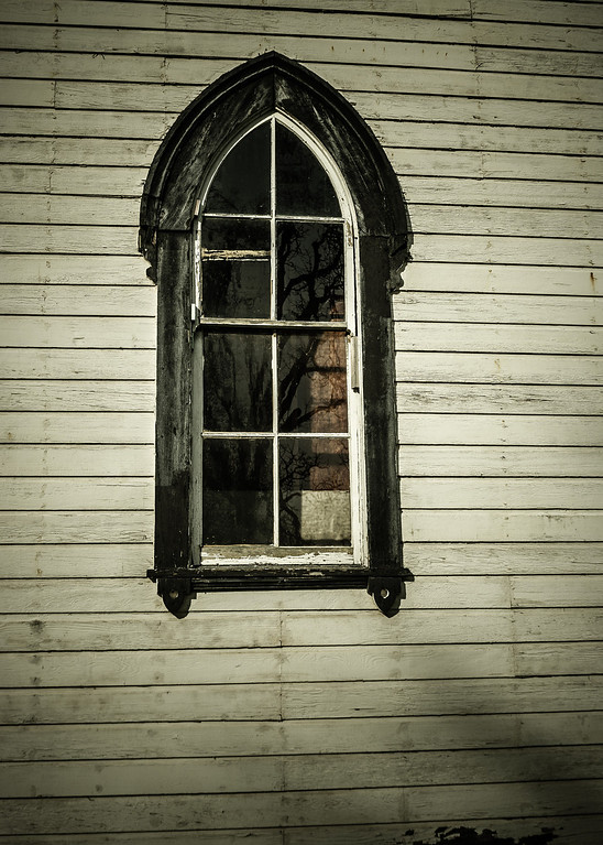 Old window on the Tabernacle, Turner, OR, USA