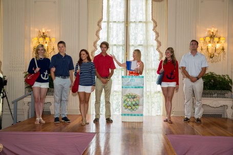 2013 Miss Rhode Island Jessica Marfeo, 2014 Miss Rhode Island Ivy Depew and 2007 Miss Rhode Island Ashley (Bickford) Karger wearing Two Bees Cashmere.  Sam Alofsin, Peter Carrellas and Gavin Megley wearing J. Mclaughlin.