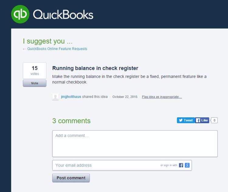 running balance in check register