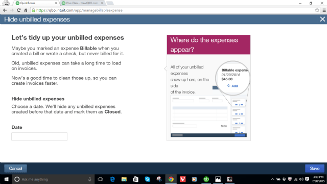 hide unbilled charges