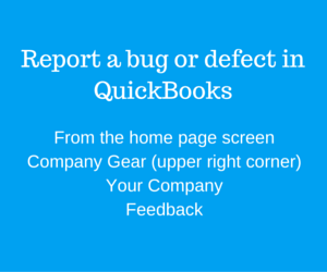 Report a bug or defect in QuickBooks