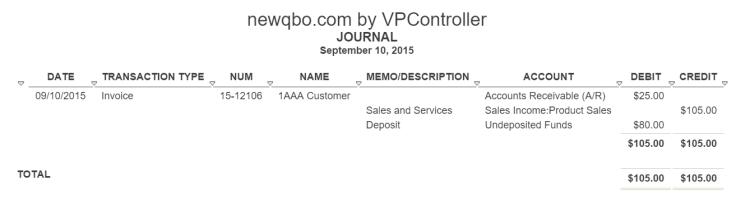 deposit journal report