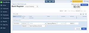 enter opening bank balance