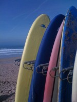 Surf Boards at Fistral Beach Newquay Cornwall