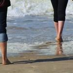 Walk Across Beach Newquay Cornwall
