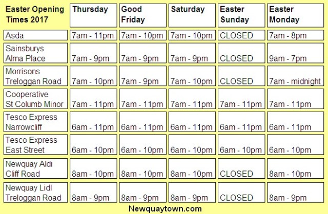 Newquay Supermarket Opening Times Easter 2017 Bank Holiday