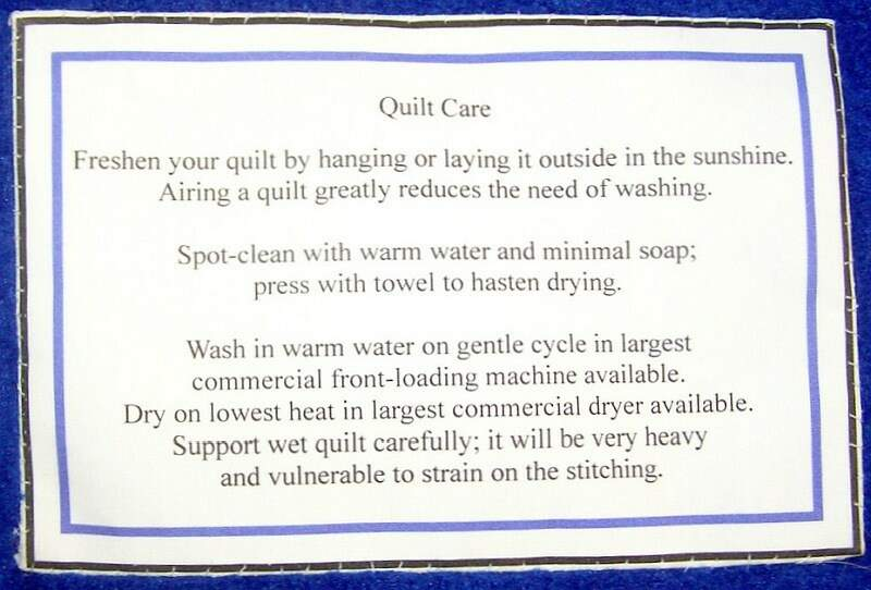 Photo of quilt label with laundering instructions.