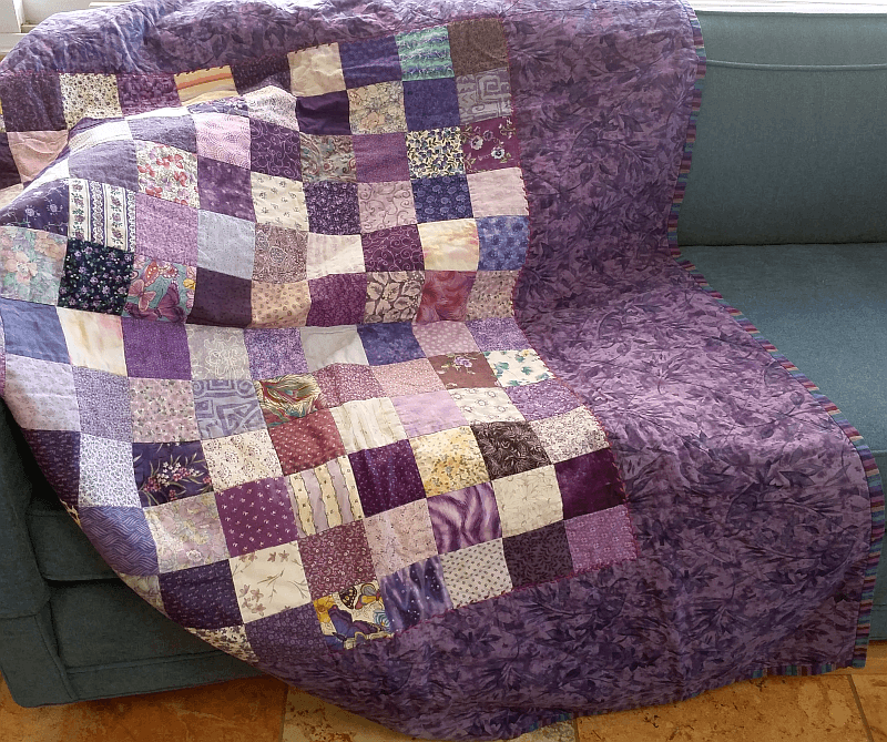 Purple four patch quilt