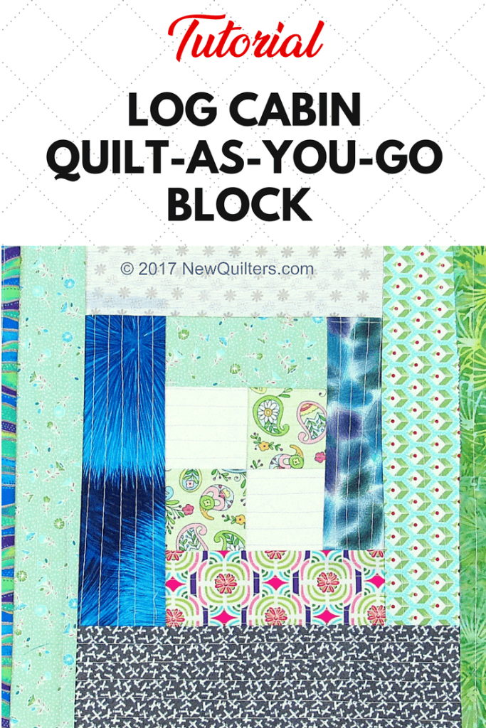Photo of quilt-as-you-go log cabin quilt block