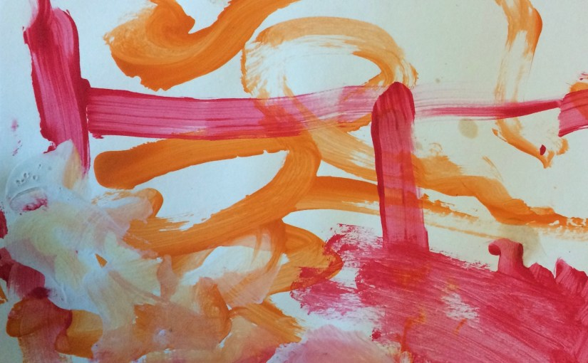 Yellow, red, and orange abstract watercolor
