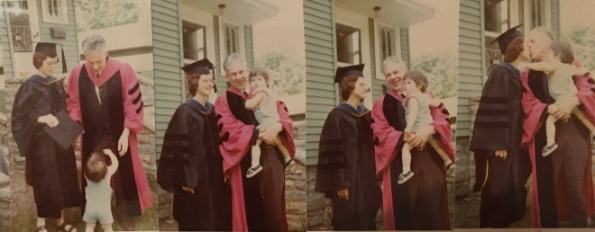 Series of photos white couple in academic regalia with a toddler.